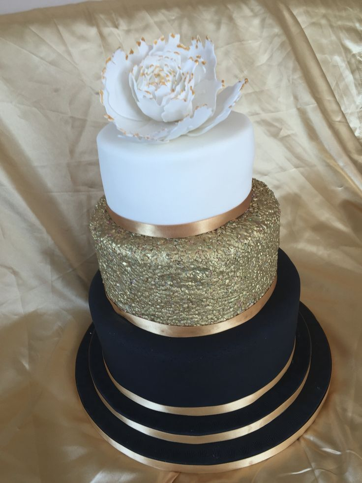 9 Cakes Blue Gold White Pretty Photo Rose Gold And White Wedding