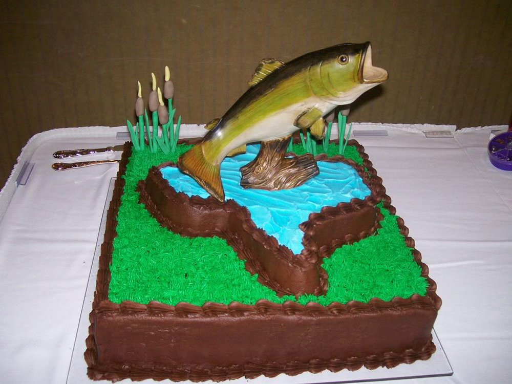 9 Fish Shaped Groom Cakes Photo Bass Fish Cake Bass
