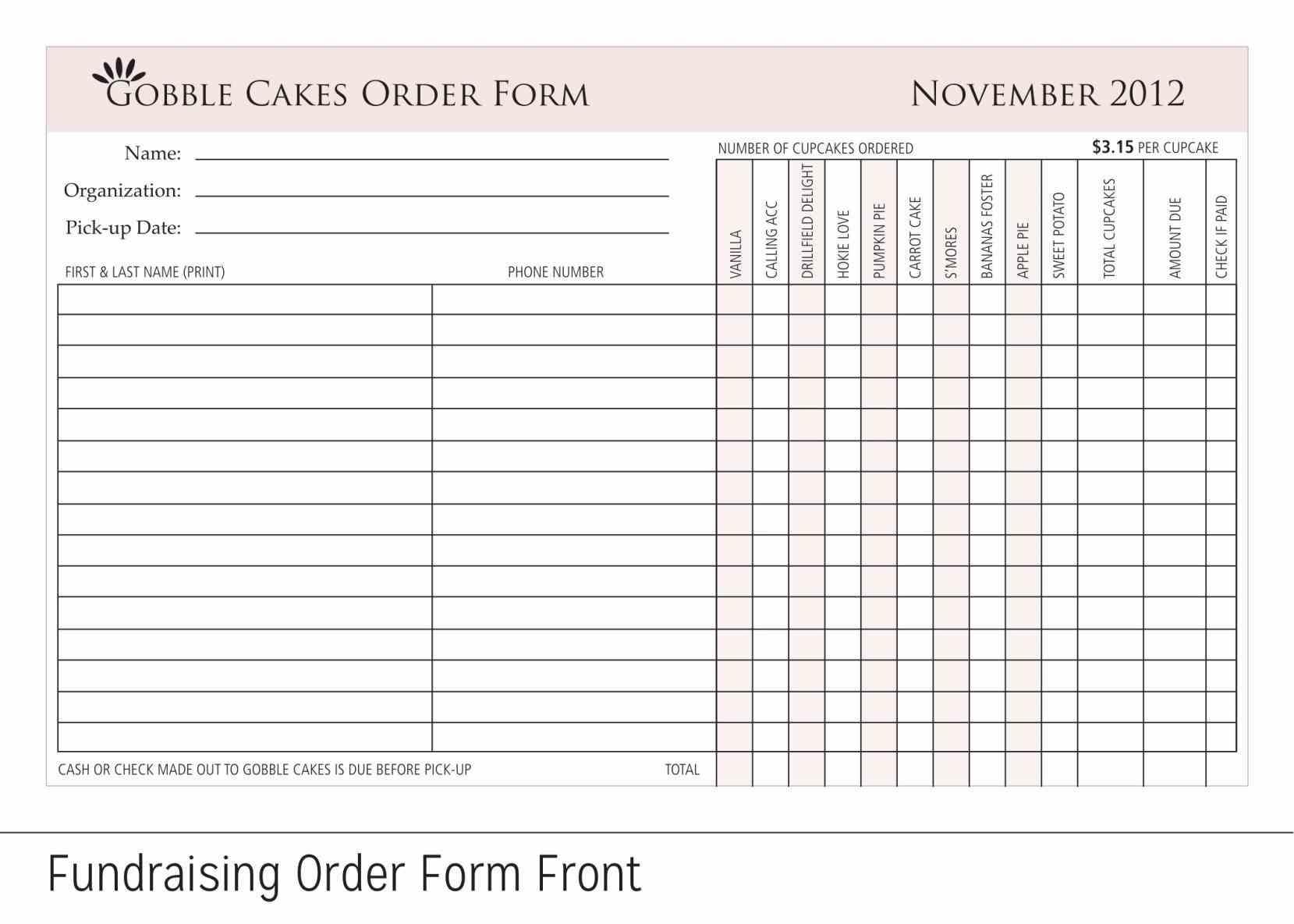 Cupcake Order Form Template Teacheng
