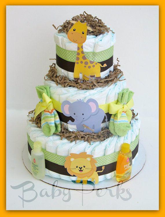 Gender Neutral Baby Shower Diaper Cake