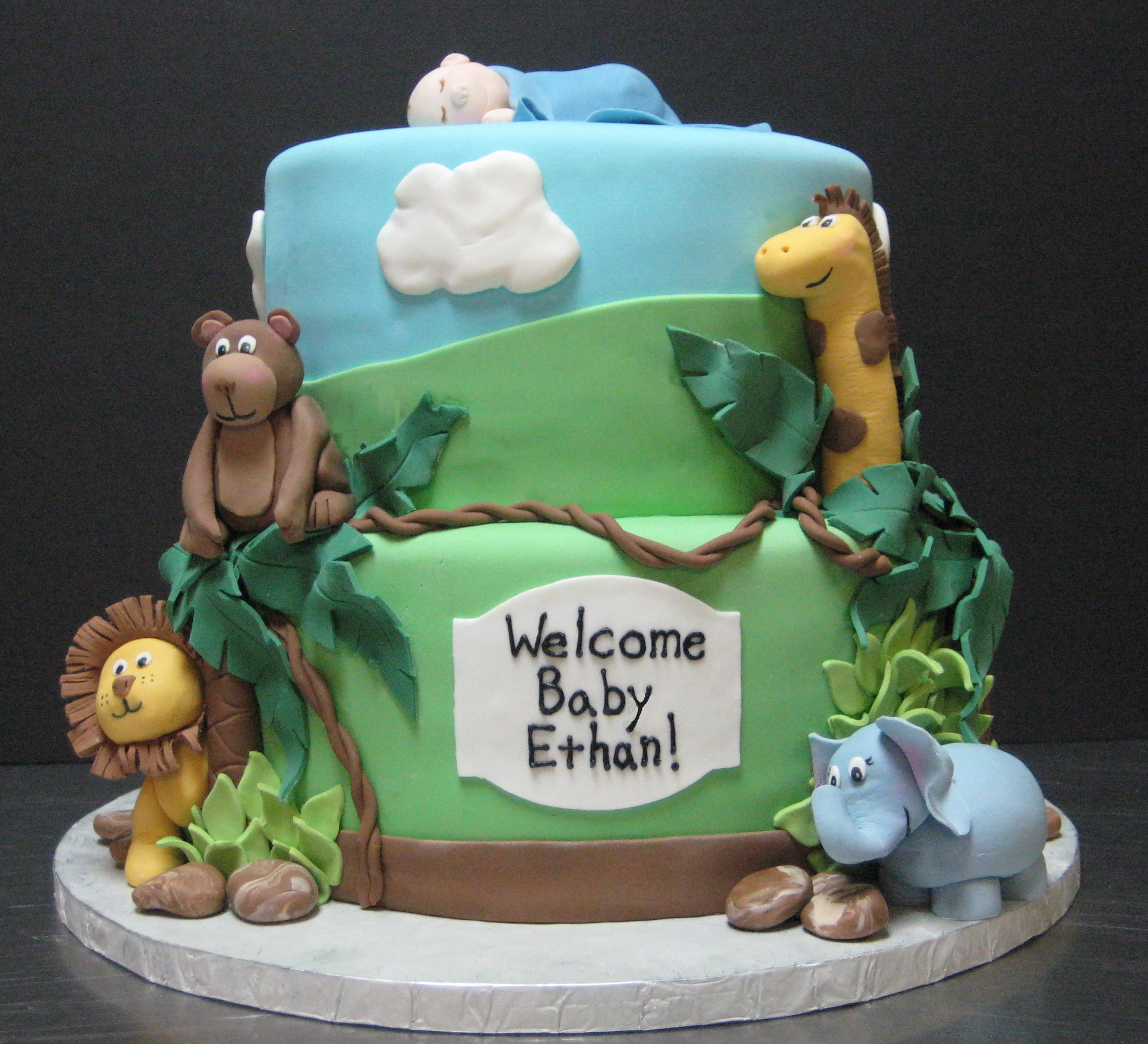 Animal Themed Baby Shower Cakeanimal Themed Baby Shower Cake Unique