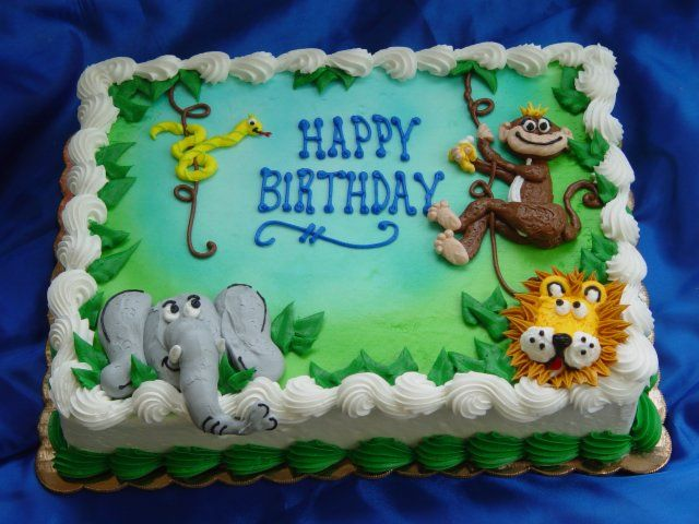 12 Jungle Safari Flat Cakes Photo Jungle Baby Shower Sheet Cakes