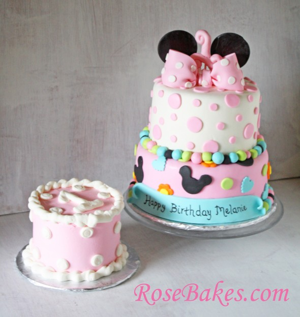 Incredible 11 Minnie Mouse 1St Birthday Smash Cake With Buttercream Icing For Personalised Birthday Cards Veneteletsinfo
