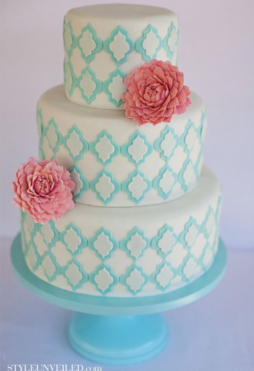 wedding cakes with pink and blue flowers 11 and white and teal cakes photo purple and 26082