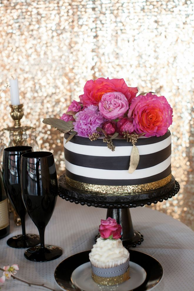 8 Pink Black White And Gold Birthday Cakes Photo Pink Black White