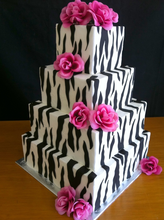 Pink Zebra Print Wedding Cake