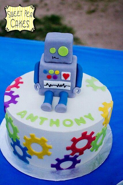 Superb 13 Robot Birthday Cakes For Boys Photo Easy Robot Birthday Cake Funny Birthday Cards Online Alyptdamsfinfo