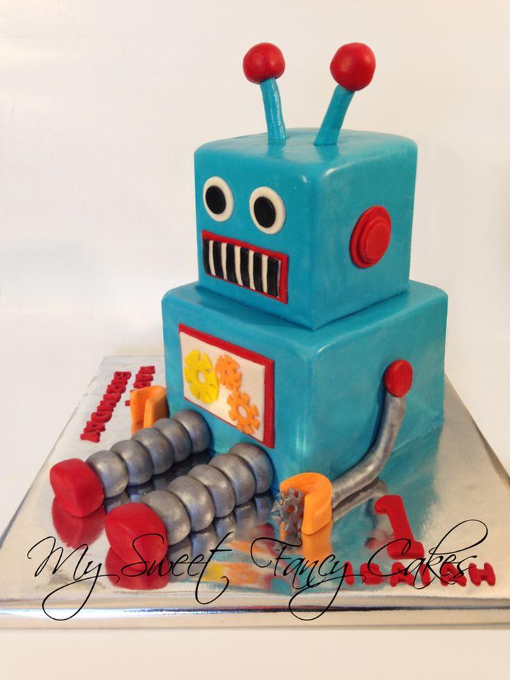 Astonishing 13 Robot Birthday Cakes For Boys Photo Easy Robot Birthday Cake Personalised Birthday Cards Epsylily Jamesorg