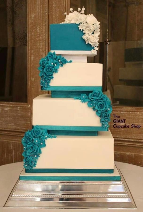 10 pinterest square wedding cakes photo navy blue wedding cake teal and white square wedding cakes junglespirit Gallery