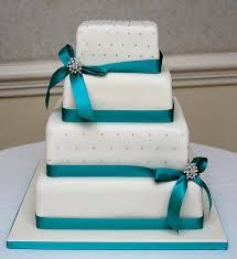 Teal And White Square Wedding Cakes