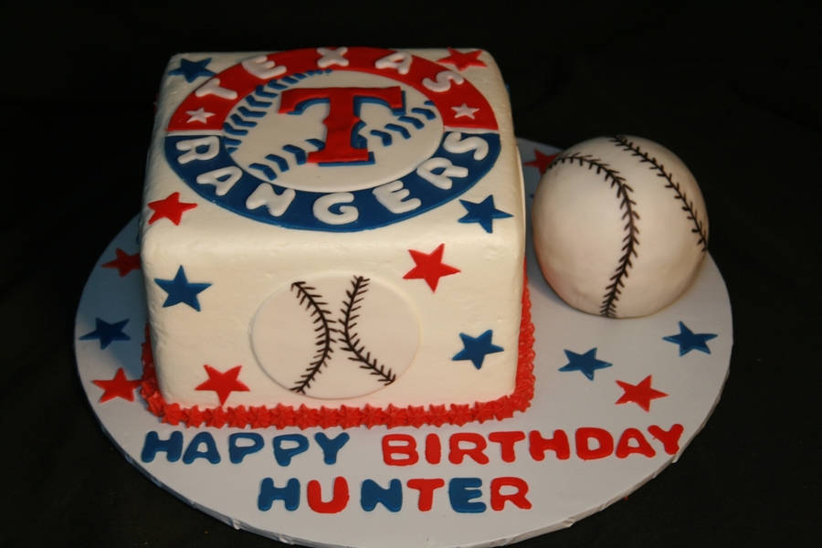 Brilliant 12 Rangers Baseball Birthday Cakes For Men Photo Baseball Personalised Birthday Cards Veneteletsinfo
