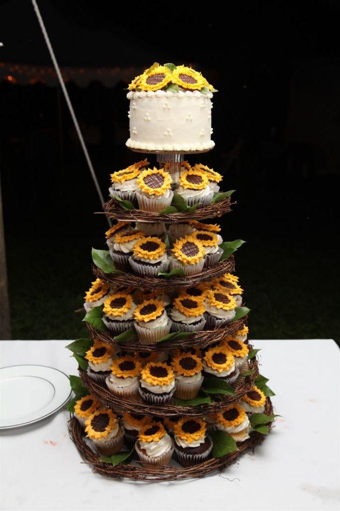 10 Sunflower Wedding Cake With Cupcakes Photo Wedding Cake and
