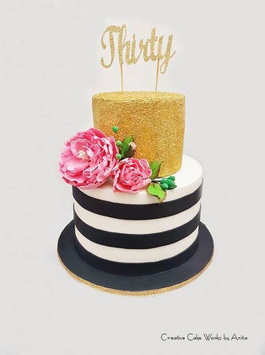 8 Pink Black White And Gold Birthday Cakes Photo Pink Black White