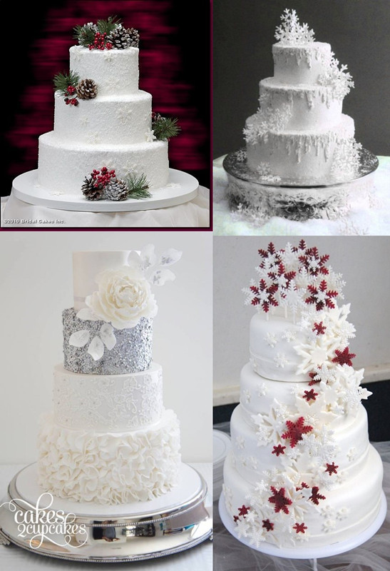 12 White Wedding Cakes With Snowflakes Photo Winter Snowflake