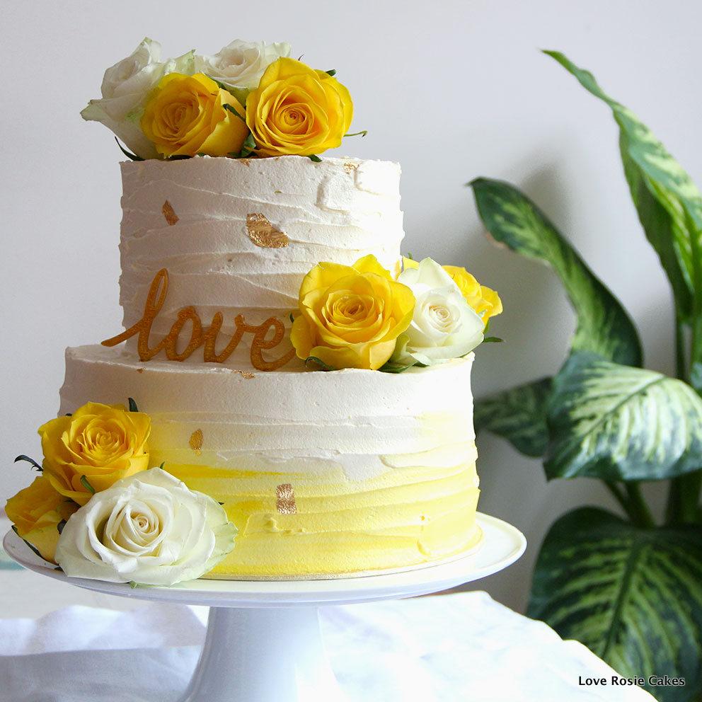 10 Flower 2 Red Orange Yellow And White Cakes Teired Photo - Yellow ...