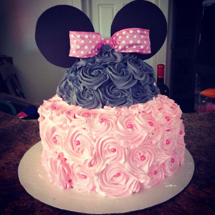 10 Minnie Mouse Birthday Cakes With Whipped Frosting Photo Minnie