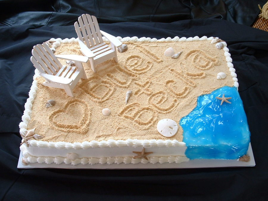 beach themed bridal shower cake