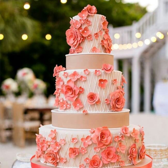 7 Brown Wedding Cakes Coral Colored Photo Beige and Coral Wedding