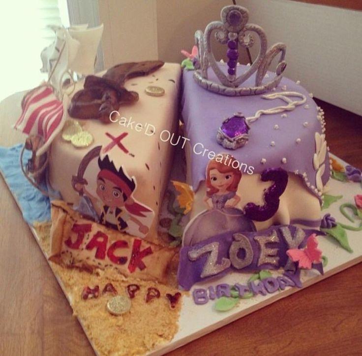 Half Pirate And Half Princess Cake