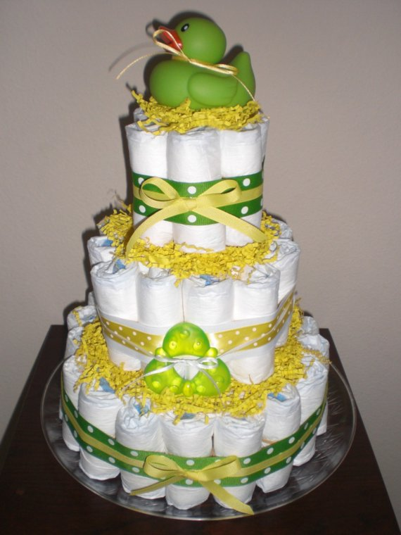 10 Yellow Pink Green Diaper Cakes Photo Blue And Green Baby Shower