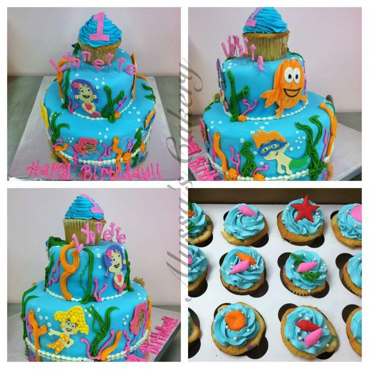 Miraculous 12 Bubble Guppies Birthday Cake And Cupcakes Photo Bubble Personalised Birthday Cards Veneteletsinfo