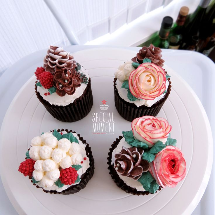 Flower Cluster Chocolate Cupcake Design Ideas