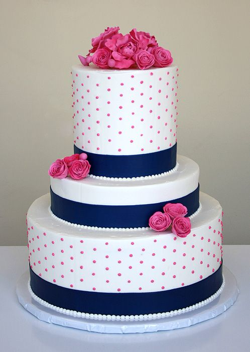hot wedding cakes 12 navy blue with pink flowers cakes photo navy blue 15343