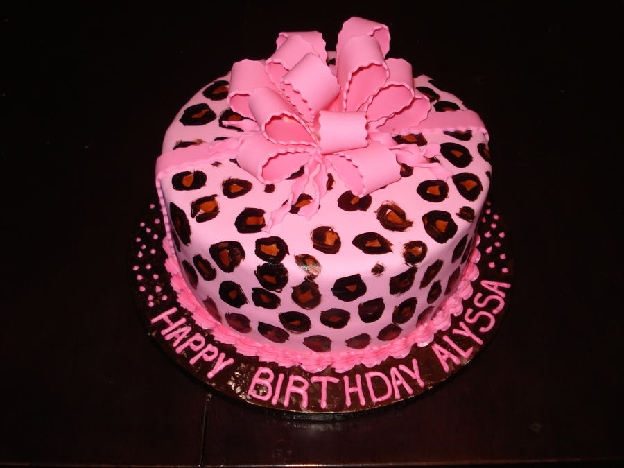 Pink Cheetah Print Birthday Cake