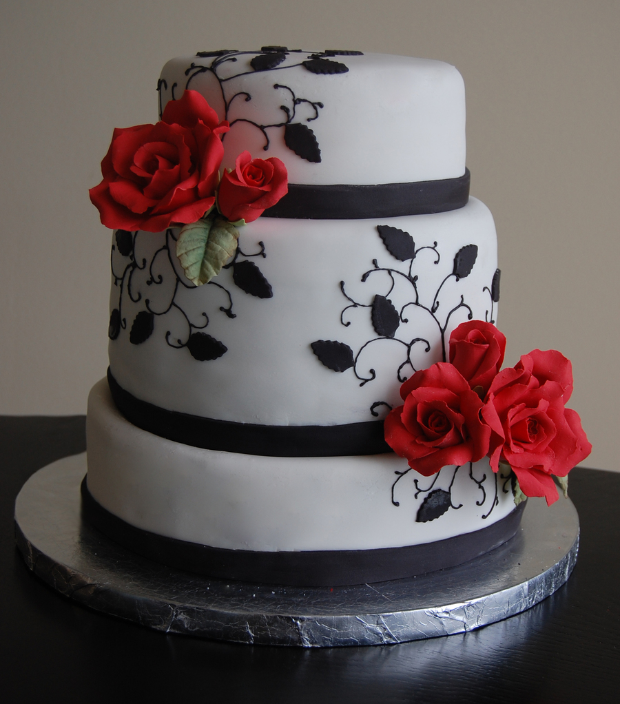 Red and Black Engagement Cake