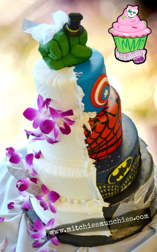 6 Superhero Half Wedding Cakes Photo - Superhero Wedding Cake ...