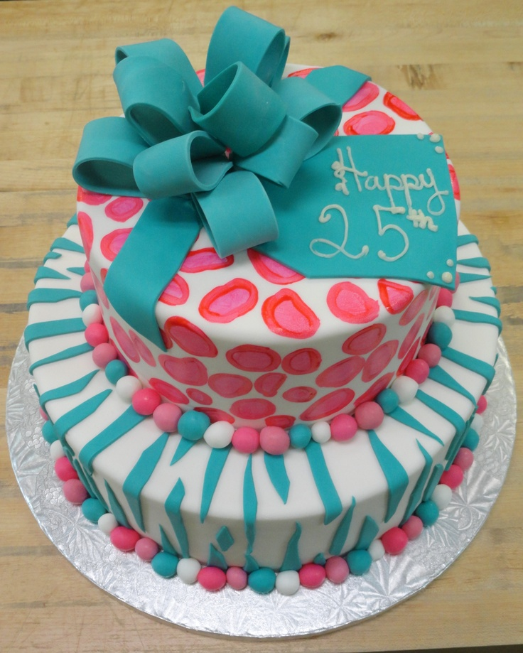 Teal and Pink Birthday Cake