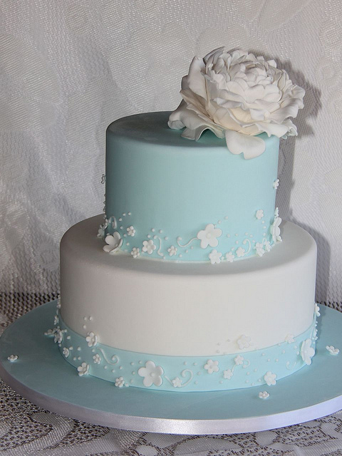 Tiffany Blue and White Wedding Cake