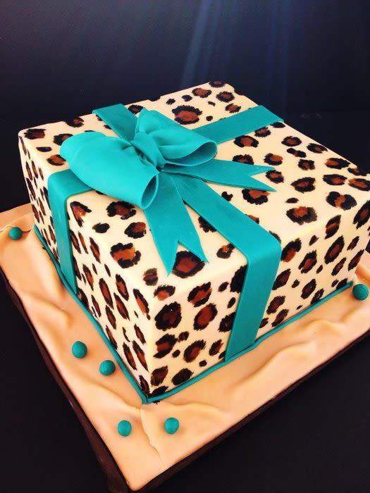 Turquoise Leopard Print Cake