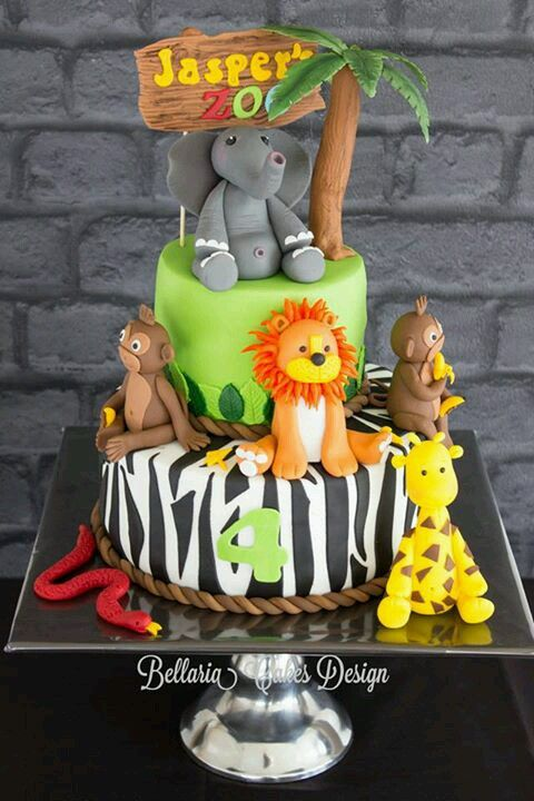 9 1st Birthday Cakes For Boys In Zoo Photo Zoo Animal Birthday