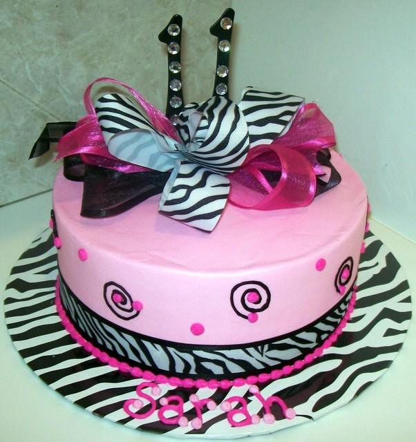 12 11th Birthday Cakes Bow Photo Girls Pink And Black Birthday