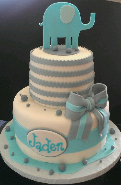 Baby Boy Shower Cakes With Elephants