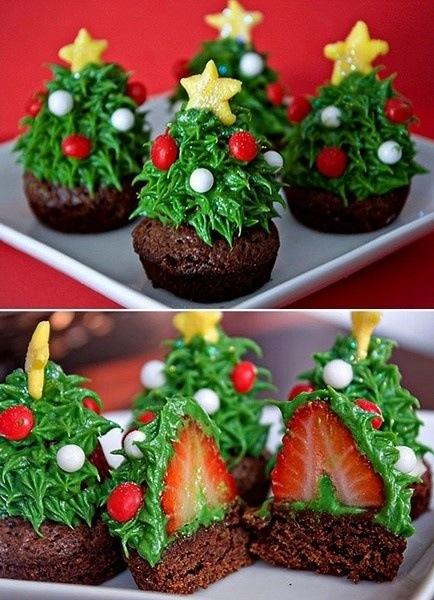 cupcakes christmas strawberries trees - Christmas Ideas Pinterest