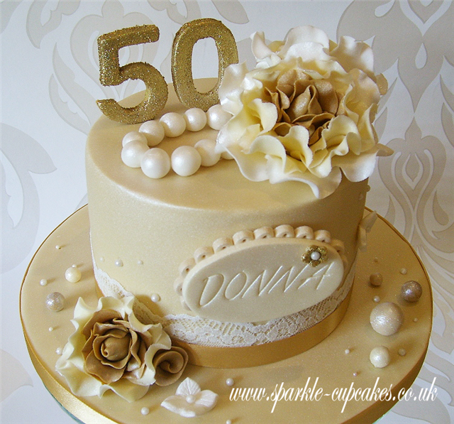10 Ivory And Gold 50th Birthday Cakes Photo Gold 50th Birthday