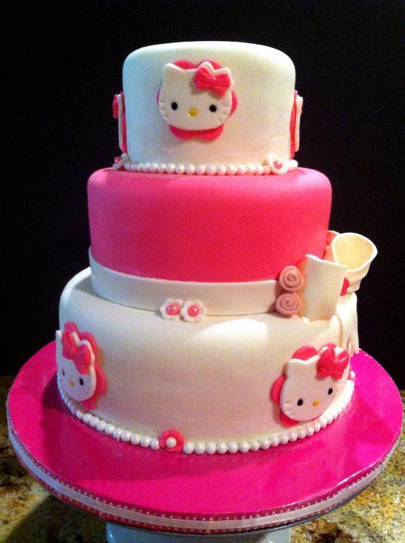 10 Hello Kitty Tiered Cakes Photo Hello Kitty 2 Tier Cake Hello