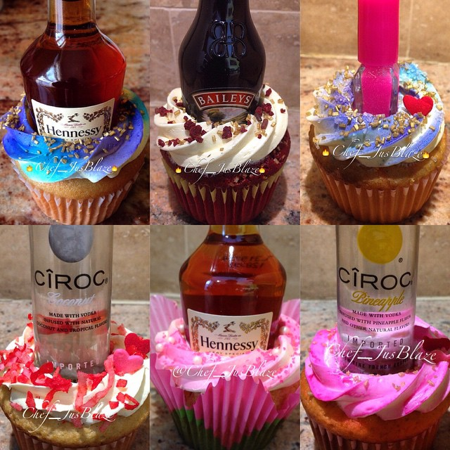 9 Cupcakes With Vodka Bottles Photo Vodka Birthday Cake Cupcakes