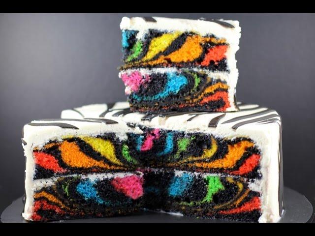 My Cupcake Addiction Rainbow Zebra Cake