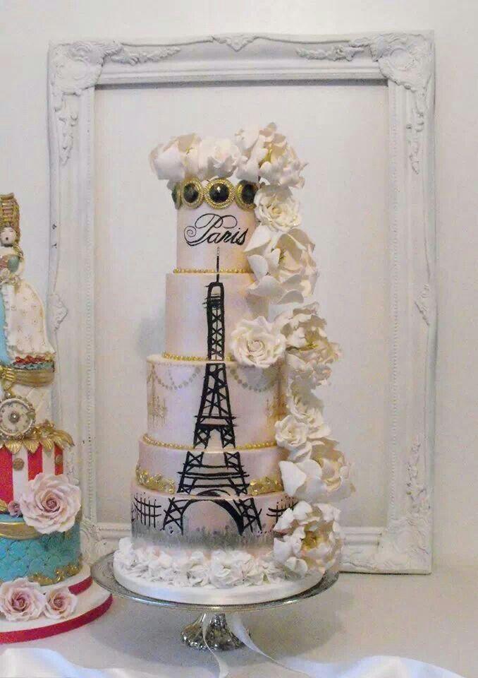 10 Paris Wedding Cakes Photo Paris Eiffel Tower Wedding Cake