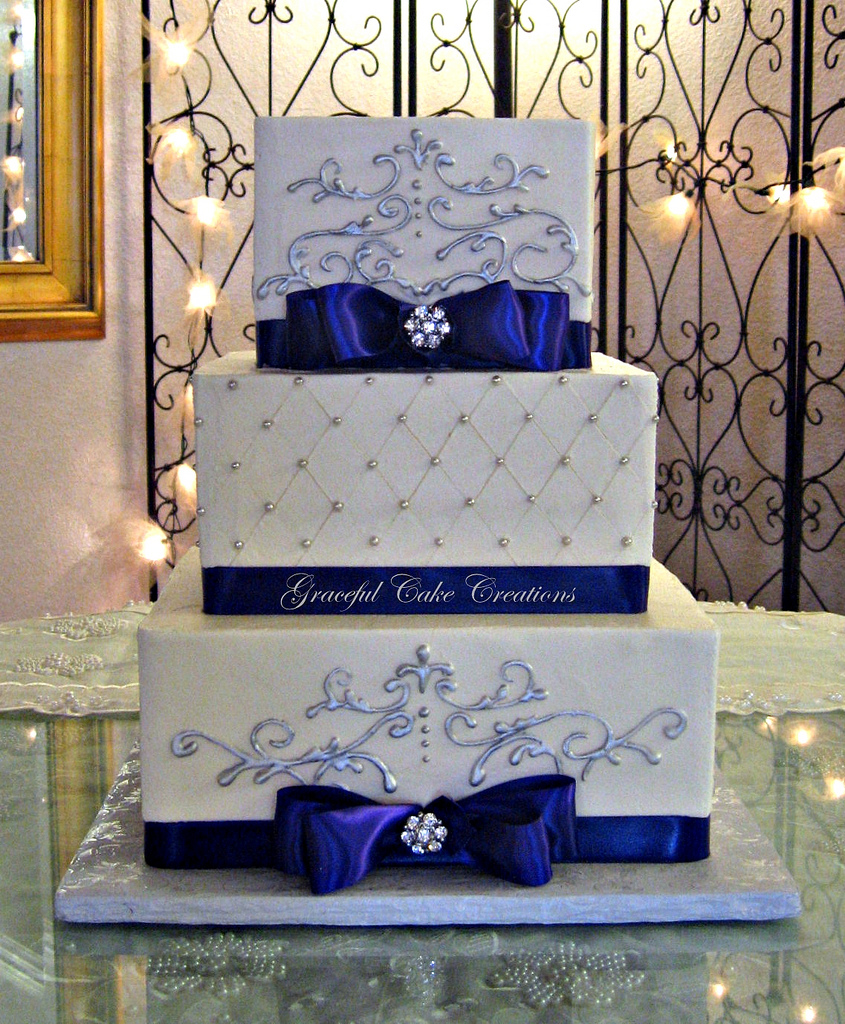 9 Royal Blue And Silver Square Wedding Cakes Photo - Royal Blue ...