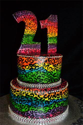 Rainbow Cheetah Print Cake