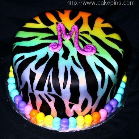 Rainbow Zebra Print Cake