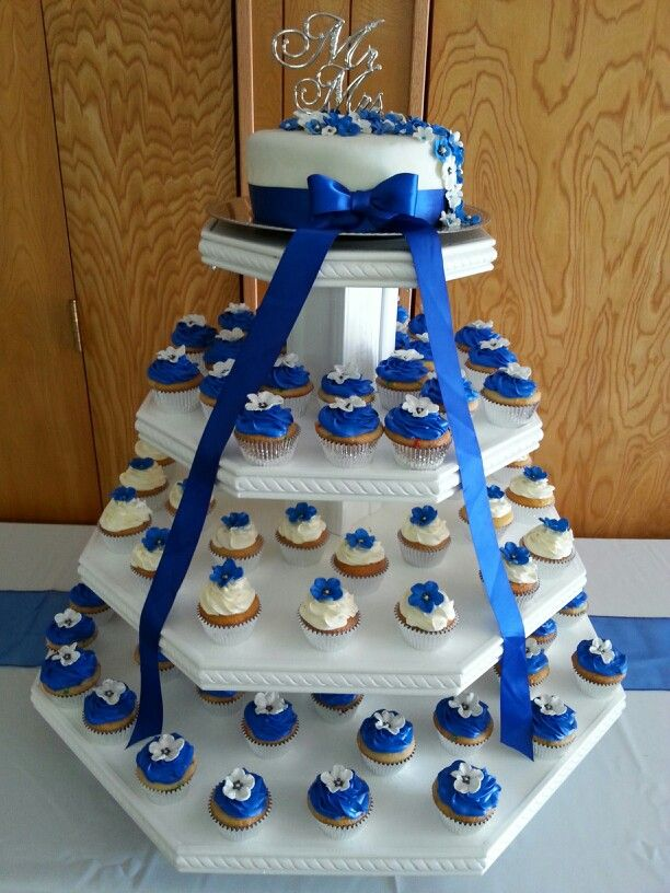13 Blue Yellow Wedding Cake Or Individual Cupcakes Photo Royal