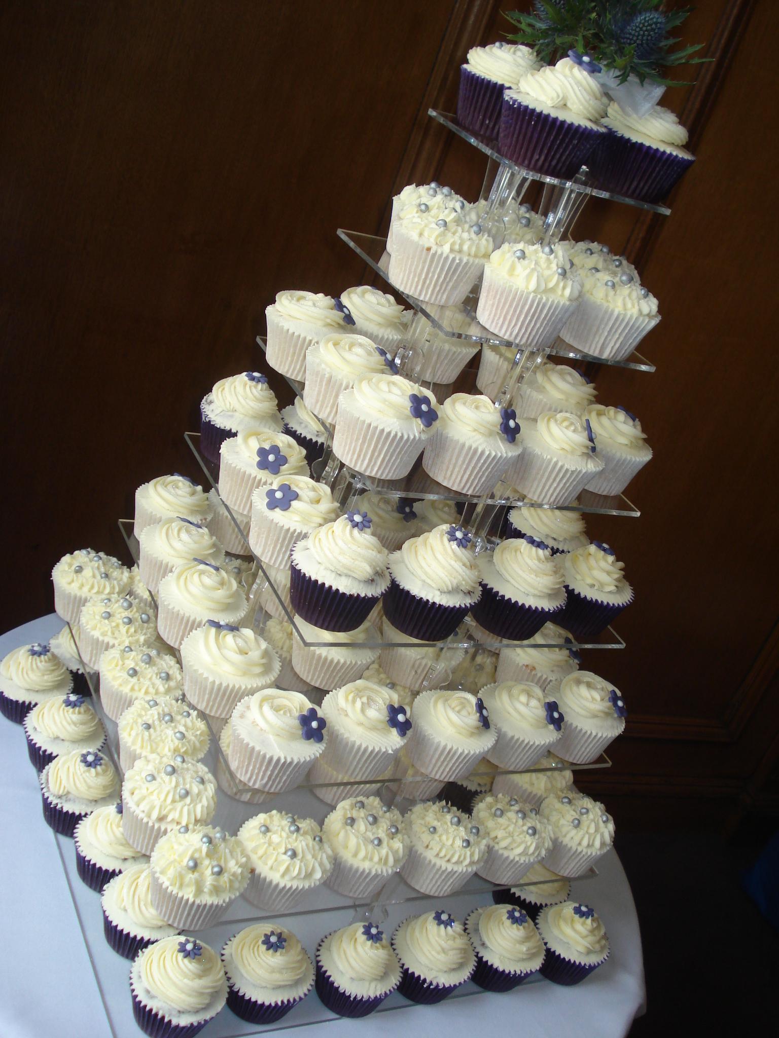 9 Cupcake Wedding Cakes Purple Silver Photo - Silver Wedding ...