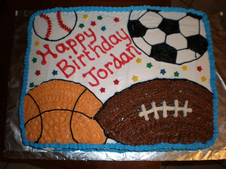6 Sports Theme Birthday Sheet Cakes Photo SportsThemed Birthday