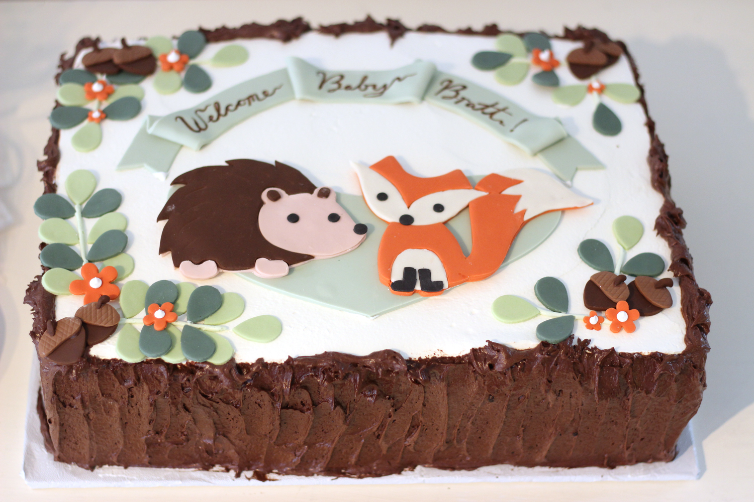 Woodland Fox Baby Shower Cake