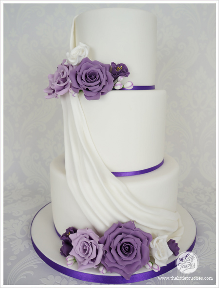 9 Three Tier Cakes With Purple Photo - 3 Tier Wedding Cake with ...